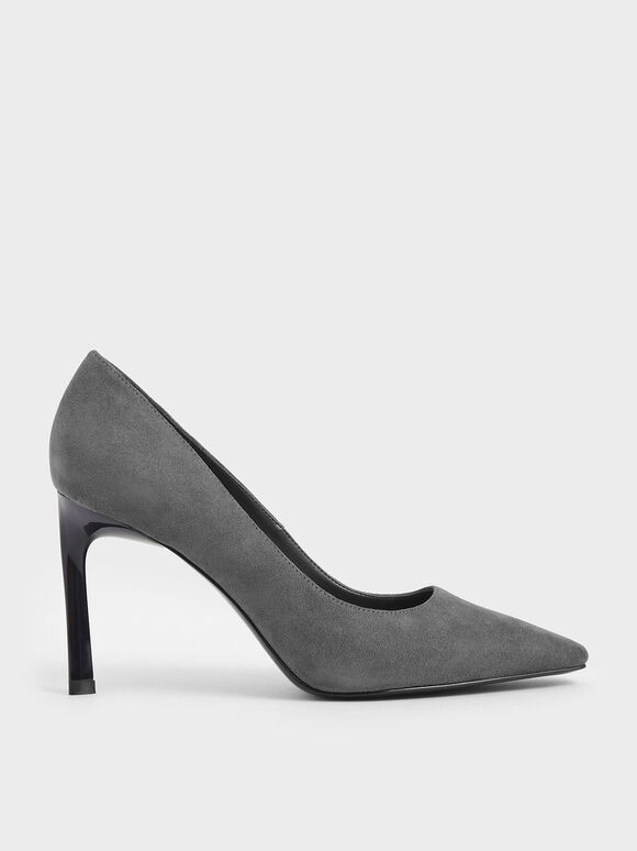 Textured Sculptural Stiletto Pumps, Dark Grey, hi-res