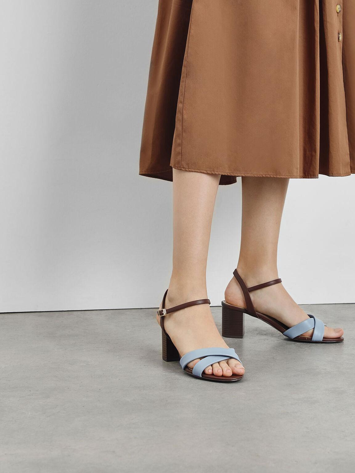 交叉帶涼鞋, 藍色, hi-res