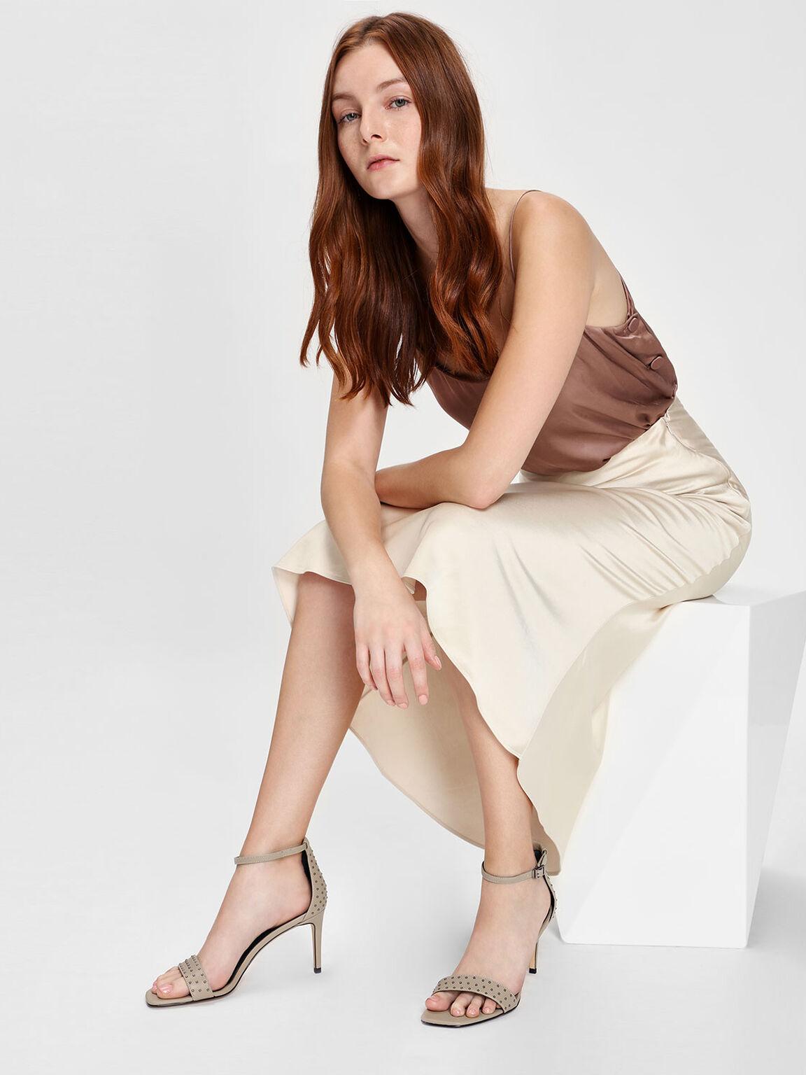 Micro Stud Embellished Heeled Sandals, Chalk, hi-res