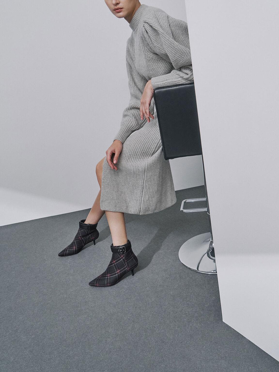 Check Print Buckle Kitten Heel Boots, Dark Blue, hi-res