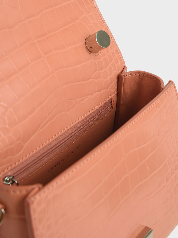 Croc-Effect Structured Top Handle Bag, Peach, hi-res