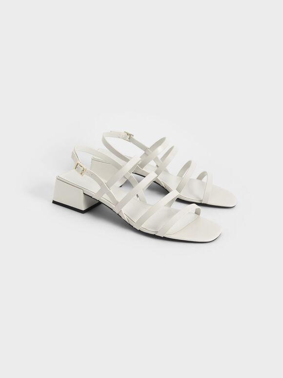 多帶粗跟涼鞋, 石灰白, hi-res