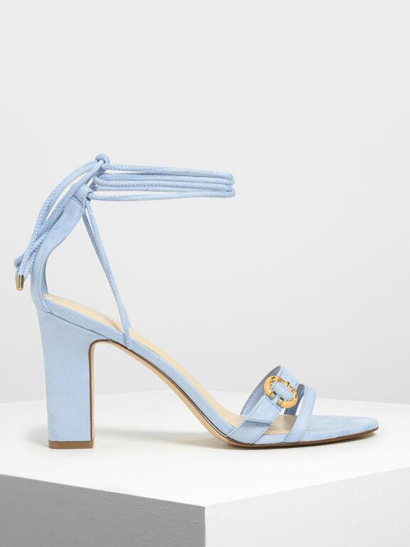 Open Toe Strappy Block Heels, Light Blue