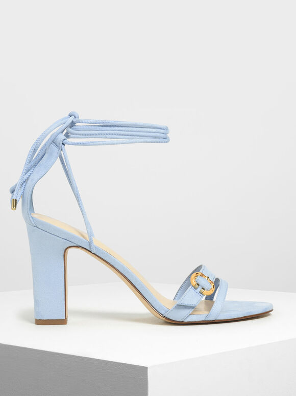 Open Toe Strappy Block Heels, Light Blue, hi-res