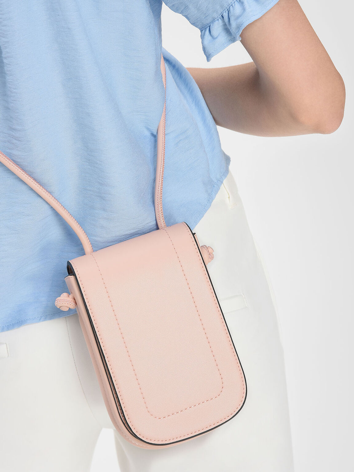 Drawstring Detail Slingbag, Pink, hi-res