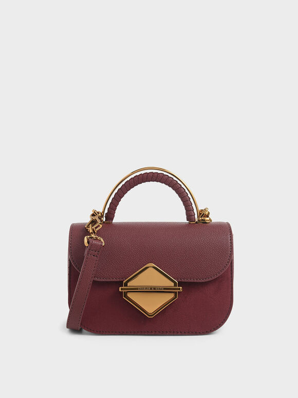 Metallic Accent Mini Top Handle Bag, Burgundy, hi-res