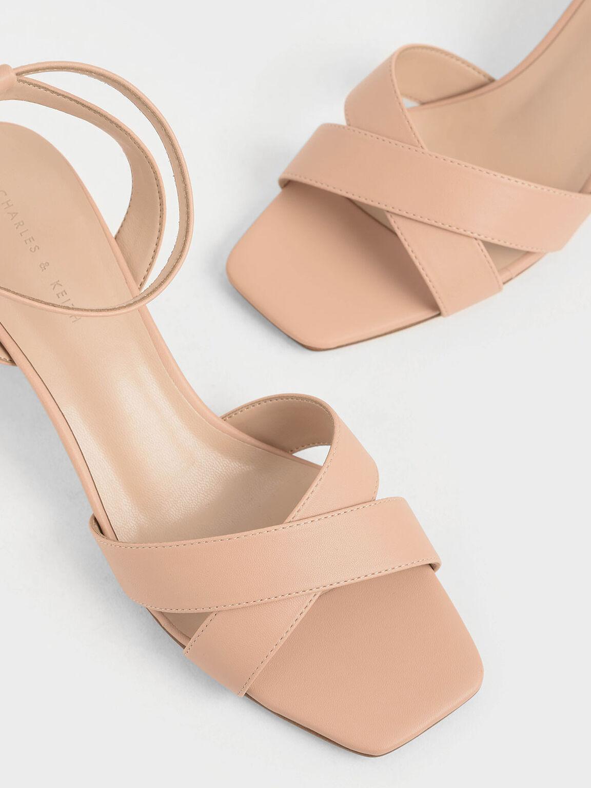 Criss Cross Block Heel Sandals, Nude, hi-res