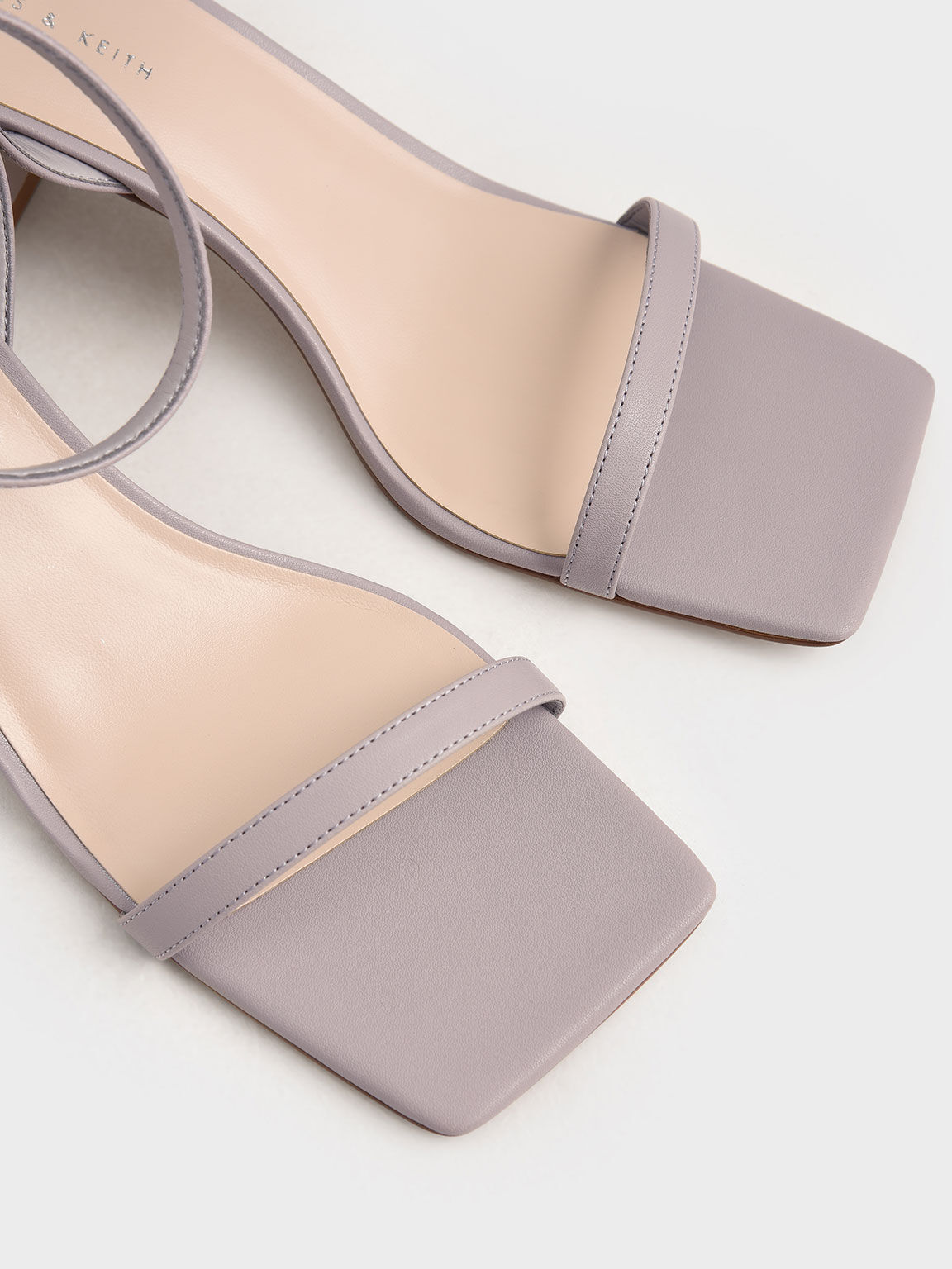 Asymmetrical Ankle Strap Sandals, Lilac, hi-res