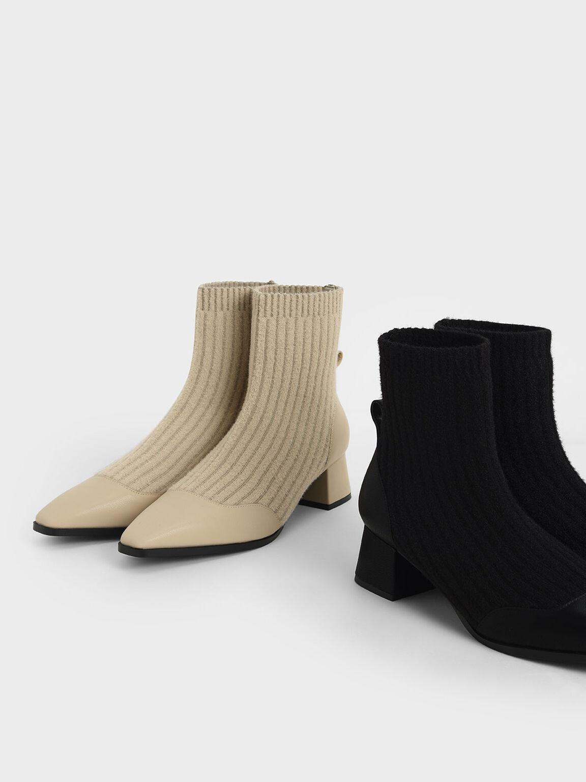 Knit Ankle Sock Boots, Beige, hi-res