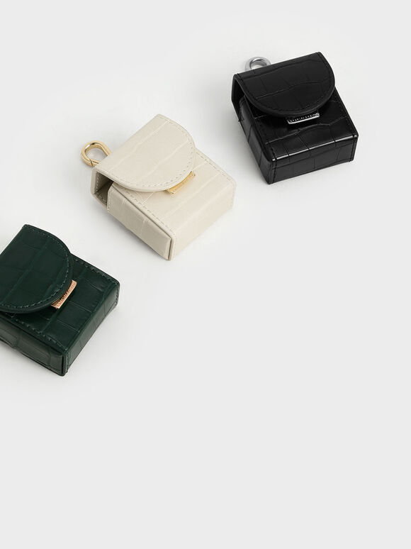 Croc-Effect AirPods Case Necklace, Beige, hi-res