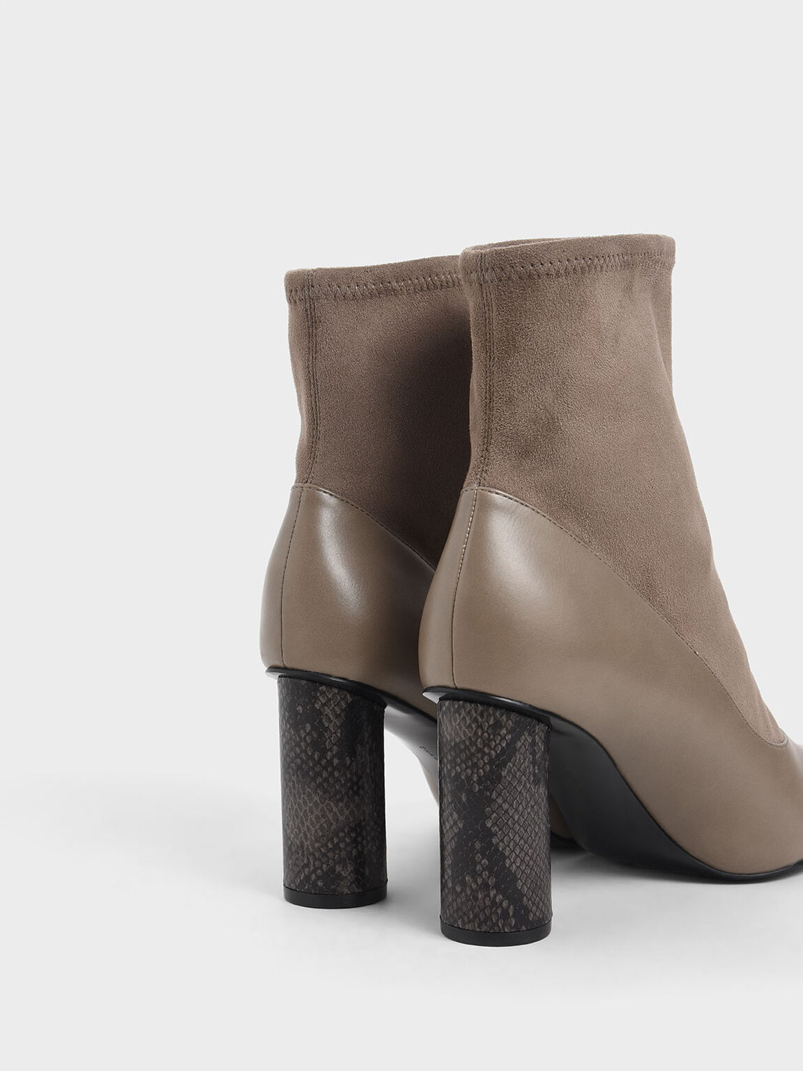 Textured Cylindrical Heel Ankle Boots, Taupe, hi-res