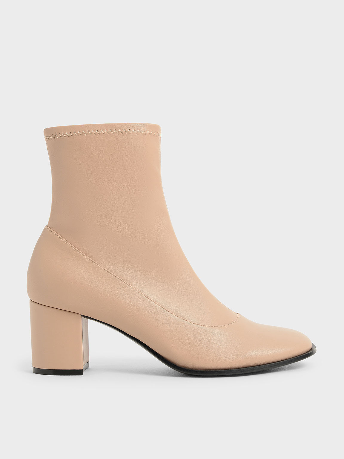 拉鍊粗跟短靴, 米黃色, hi-res