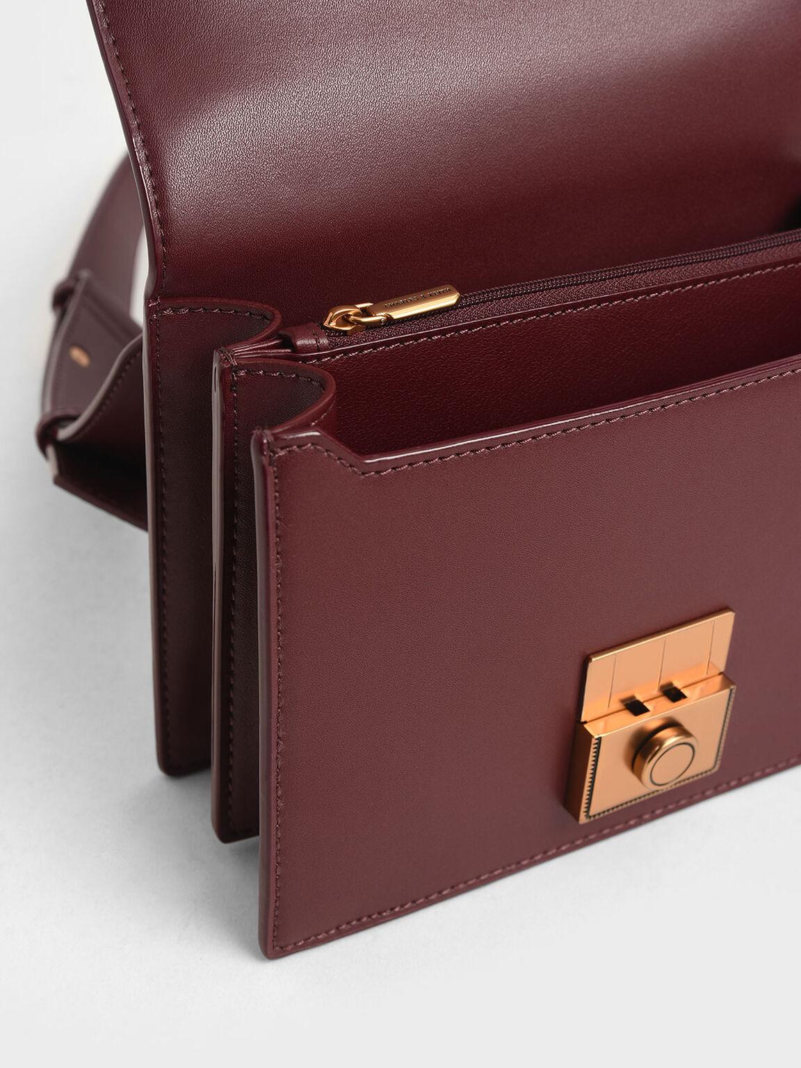 Boxy Push Lock Crossbody Bag, Burgundy, hi-res