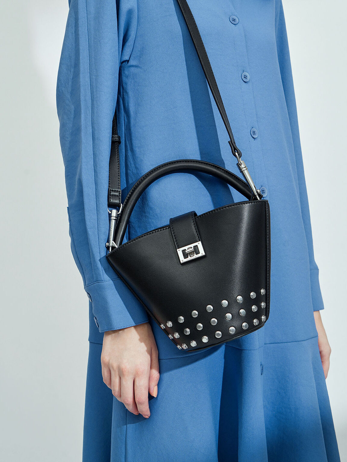 Studded Bucket Bag, Black, hi-res