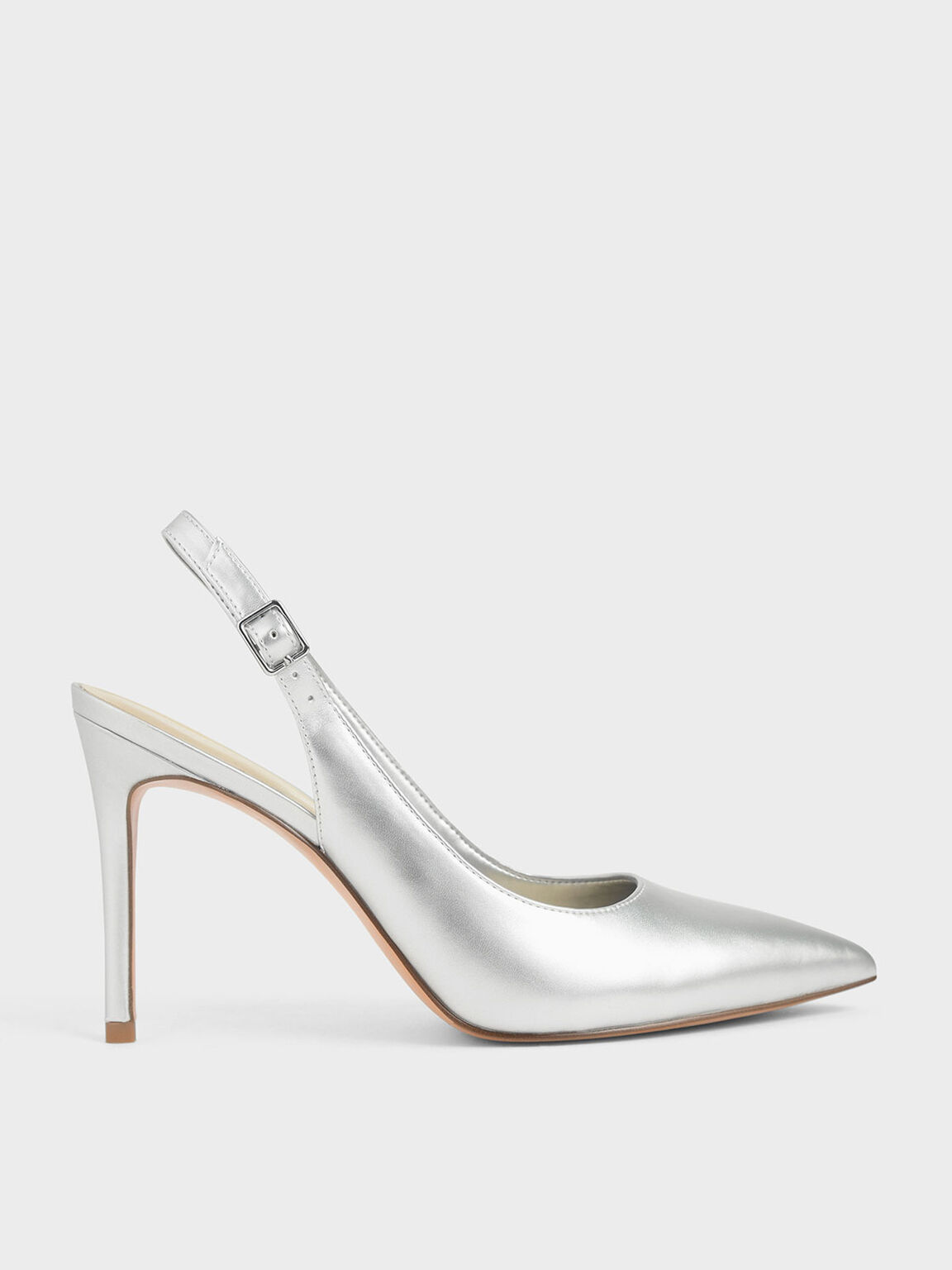 Metallic Stiletto Slingback Pumps, Silver, hi-res