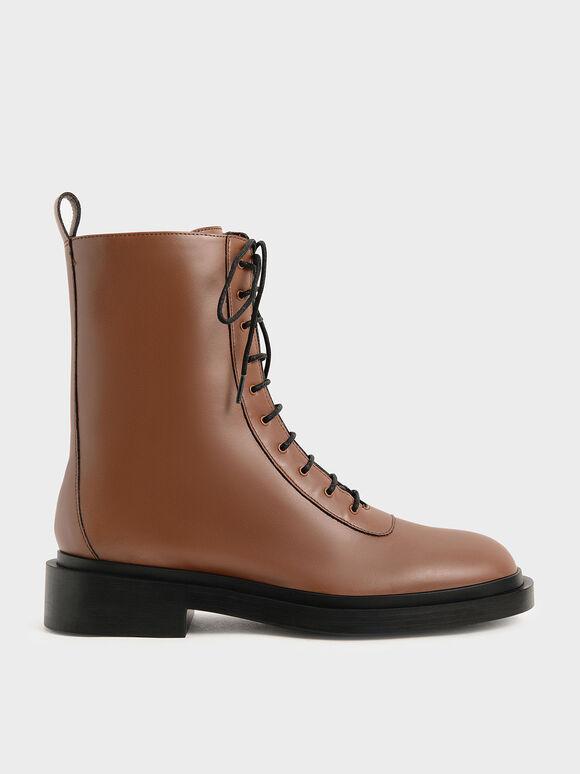 Lace-Up Calf Boots, Cognac, hi-res