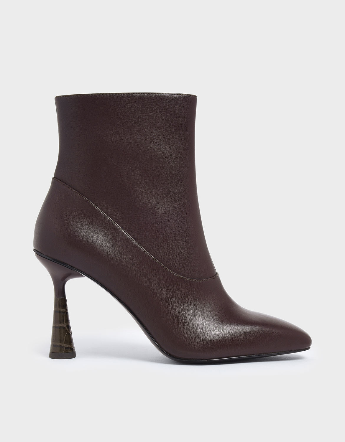 croc effect ankle boots