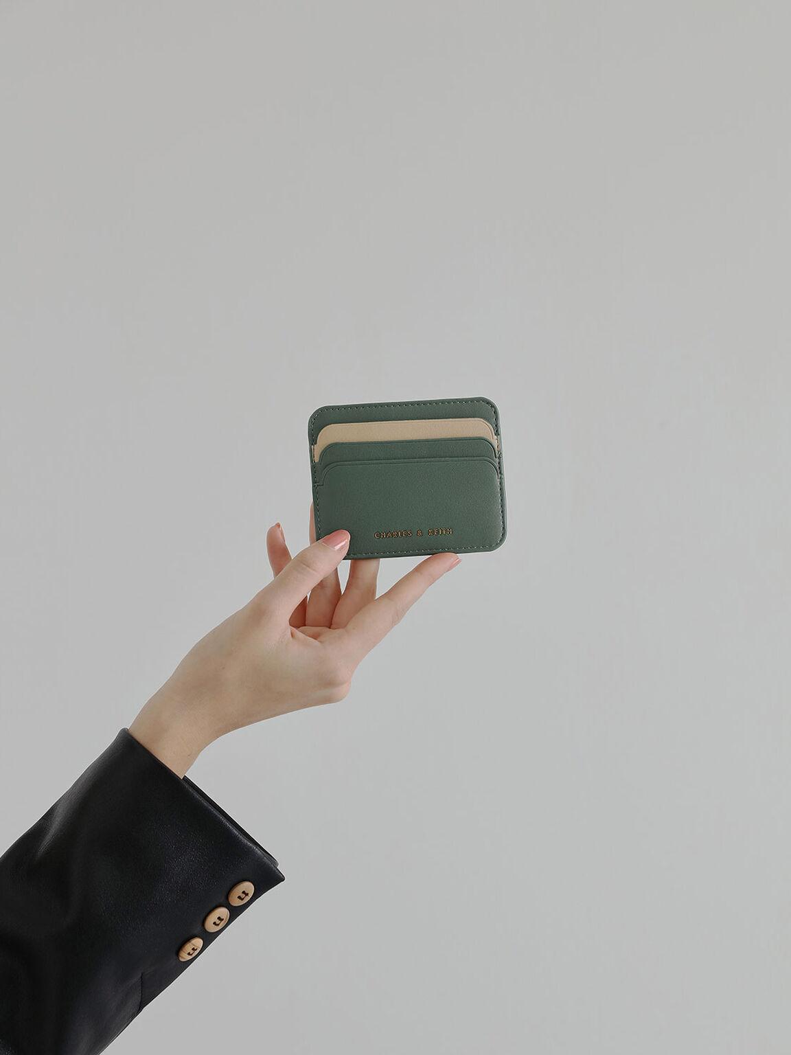 Two-Tone Multi-Slot Card Holder, Green, hi-res