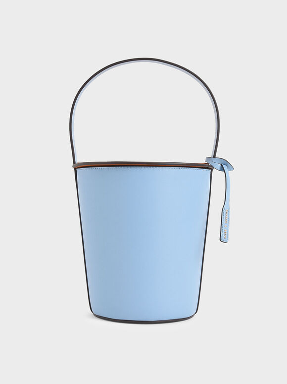Cylindrical Top Handle Bag, Denim Blue, hi-res
