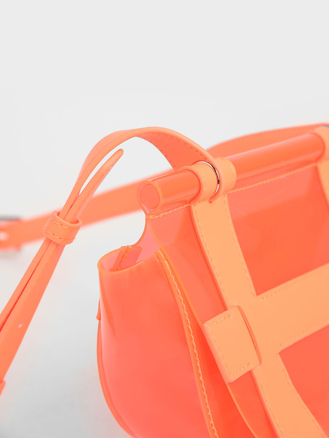 Small Caged See-Through Effect Crossbody Bag, Neon Orange, hi-res
