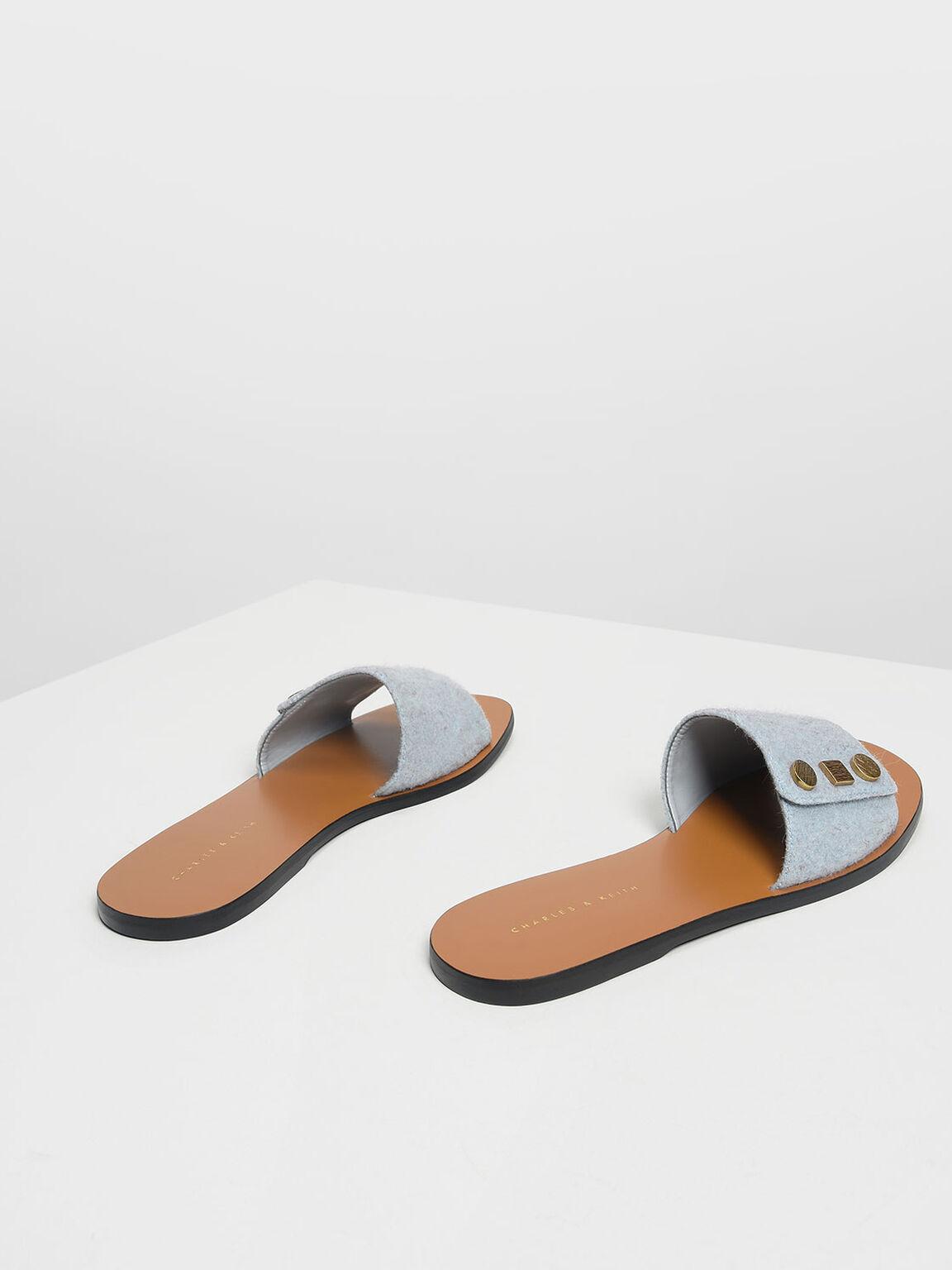 D-Ring Detail Sliders, Light Blue, hi-res