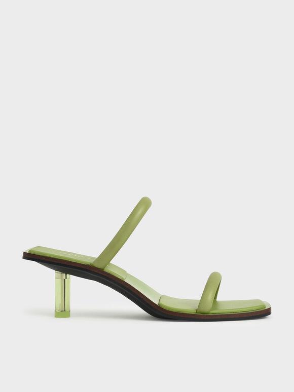 莫莉聯名:細帶透明跟涼鞋, 灰綠色, hi-res