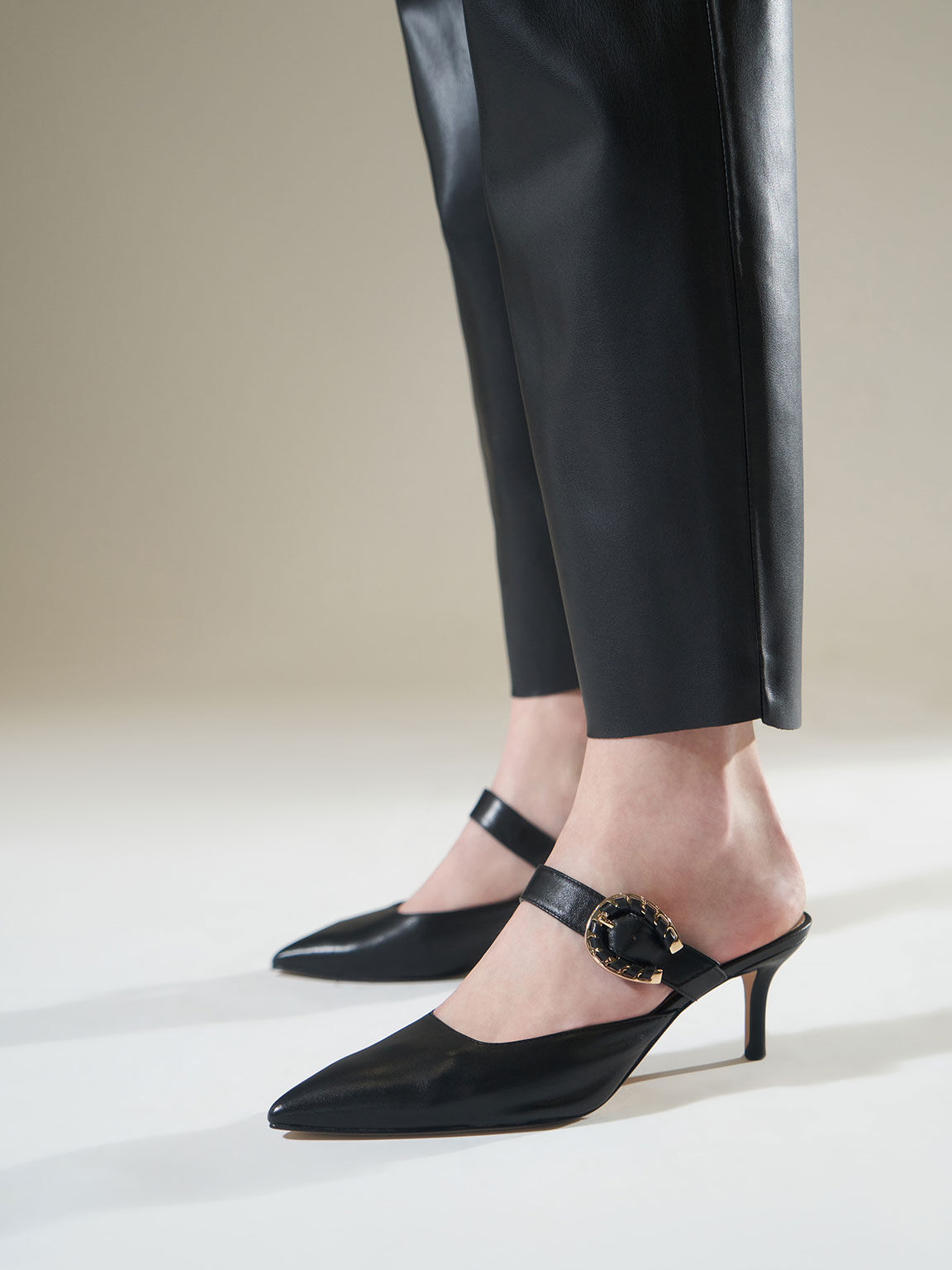 Leather Buckle Strap Mules, Black, hi-res