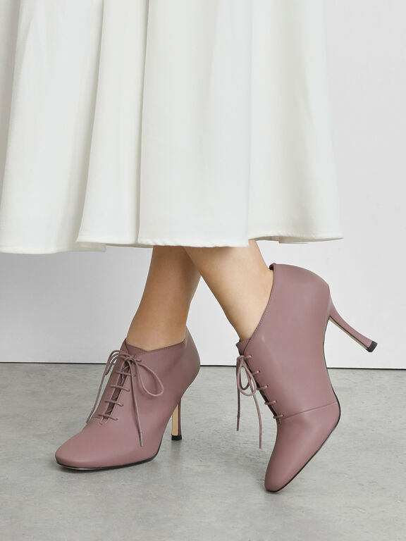 Lace Up Booties, Purple, hi-res