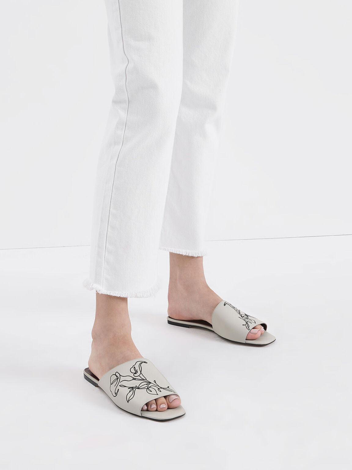 Floral Embroidered Slide Sandals, Chalk, hi-res
