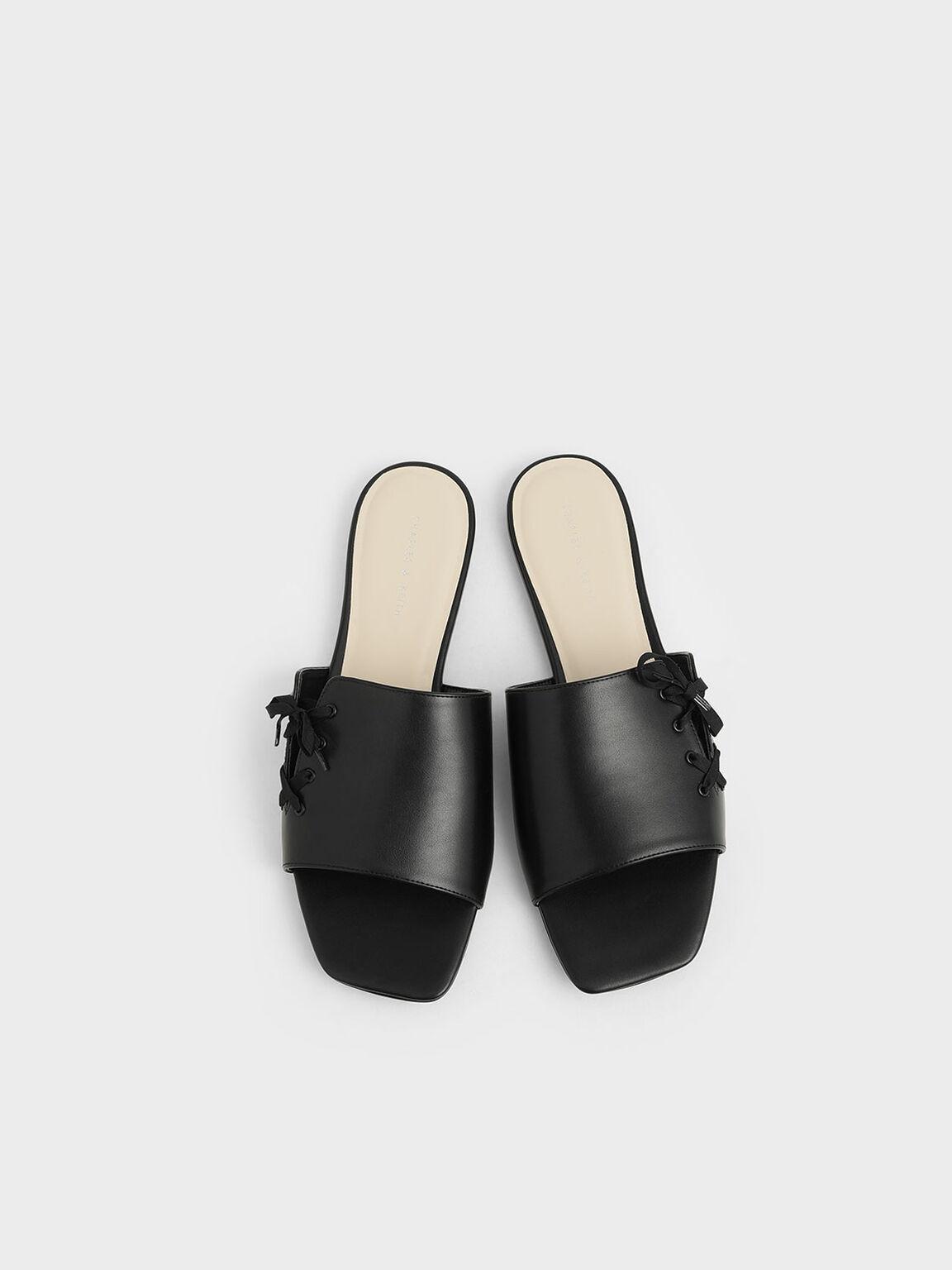 Ribbon Tie Slide Sandals, Black, hi-res