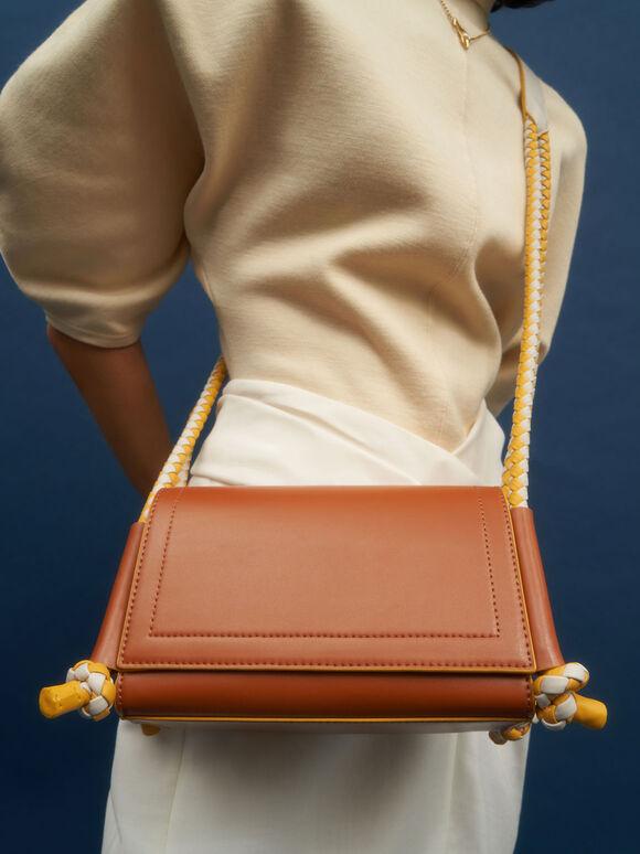 Embellished Strap Crossbody Bag, Cognac, hi-res