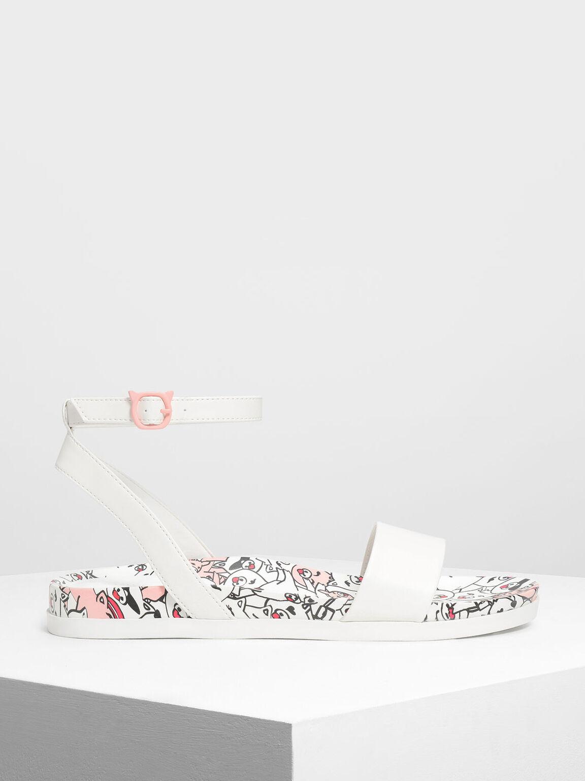 Zodiac Pig Sandals, White, hi-res