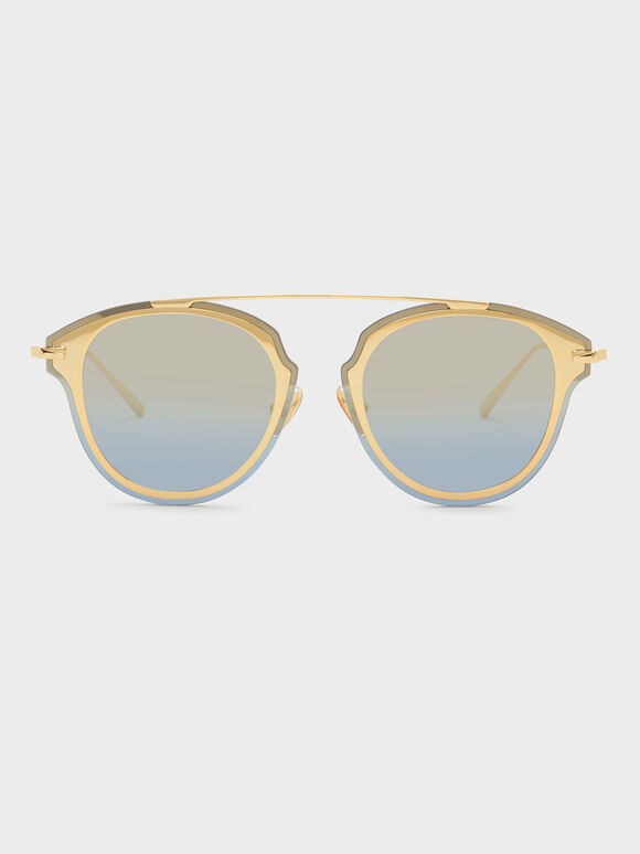 Angular Metal Frame Aviators, Blue, hi-res
