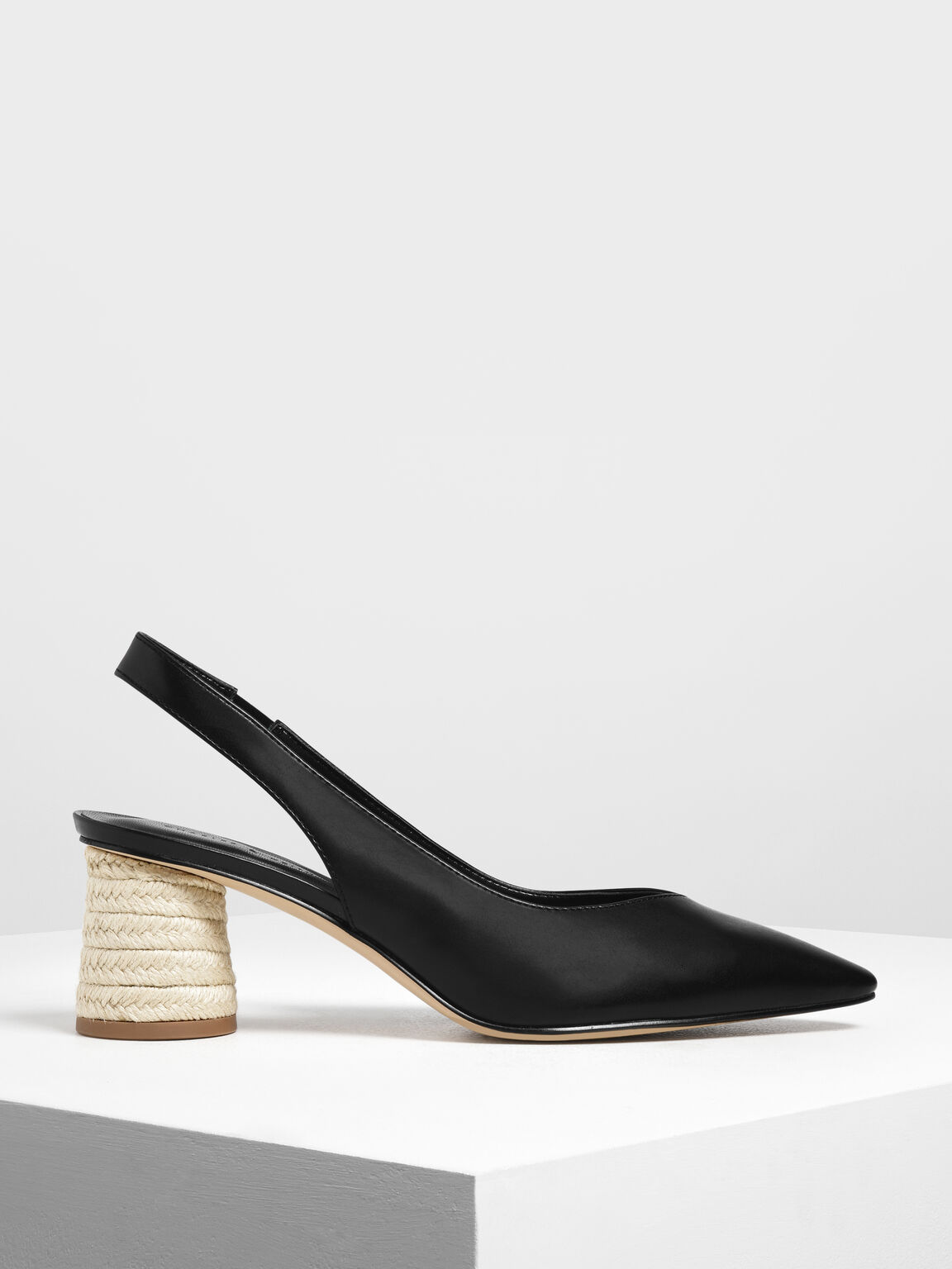 Cylindrical Espadrille Block Heel Slingbacks, Black, hi-res