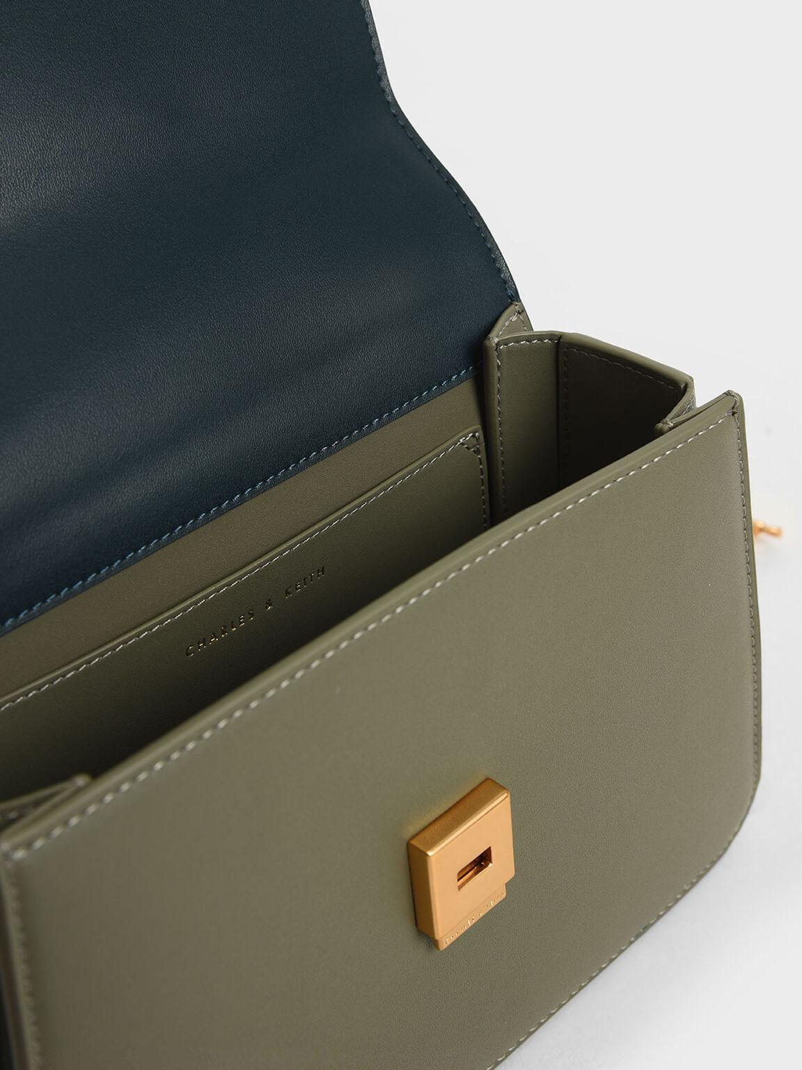 水晶金屬鍊肩背包, 灰綠色, hi-res