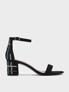 Block Heel Ankle Strap Sandals, Black