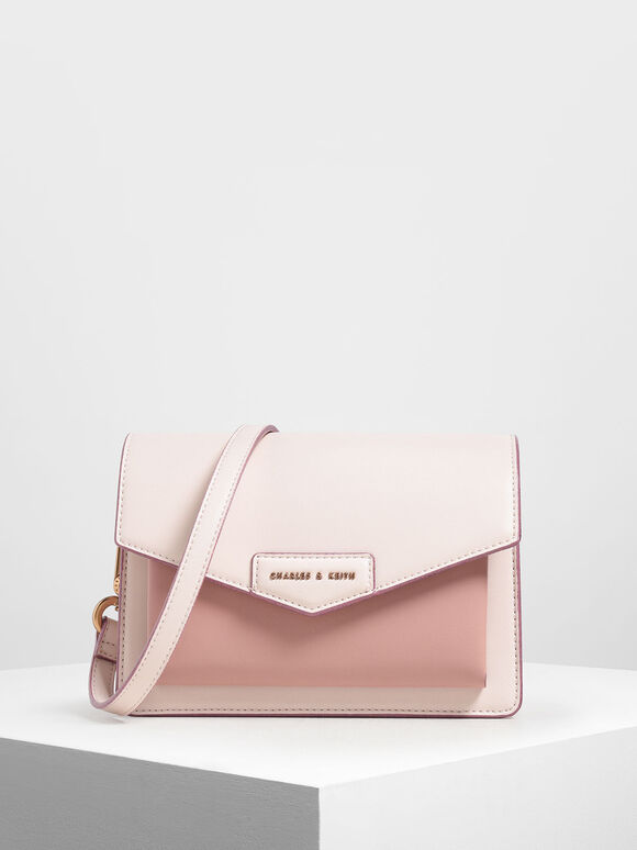 Front Flap Crossbody Bag, Light Pink, hi-res