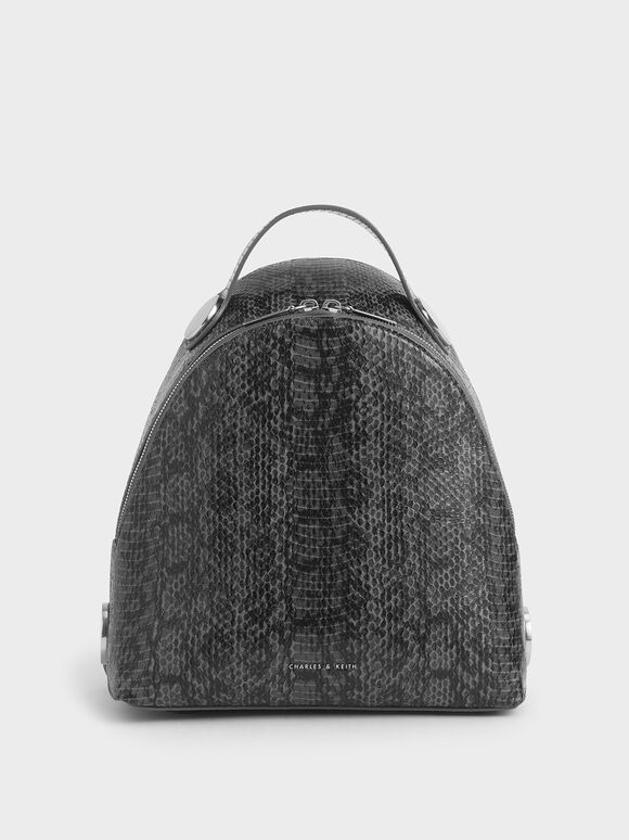 Large Snake Print Dome Backpack, Grey, hi-res