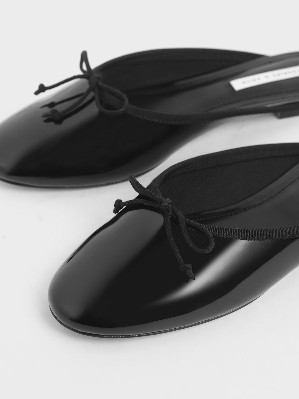 Patent Bow Flat Mules, Black, hi-res