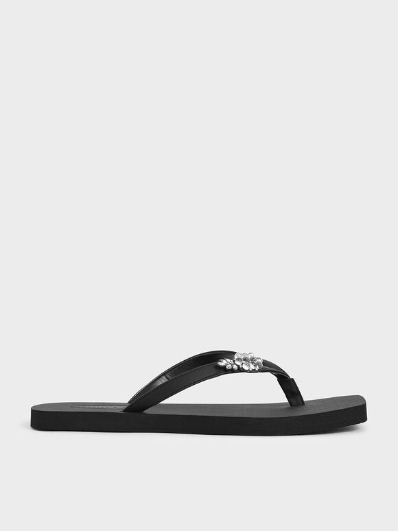 Embellished Thong Sandals, Black, hi-res