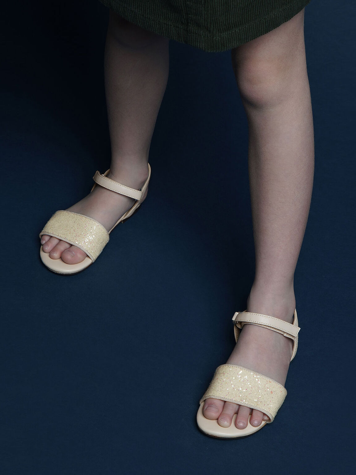 Girls' Glitter Sandals, Beige, hi-res