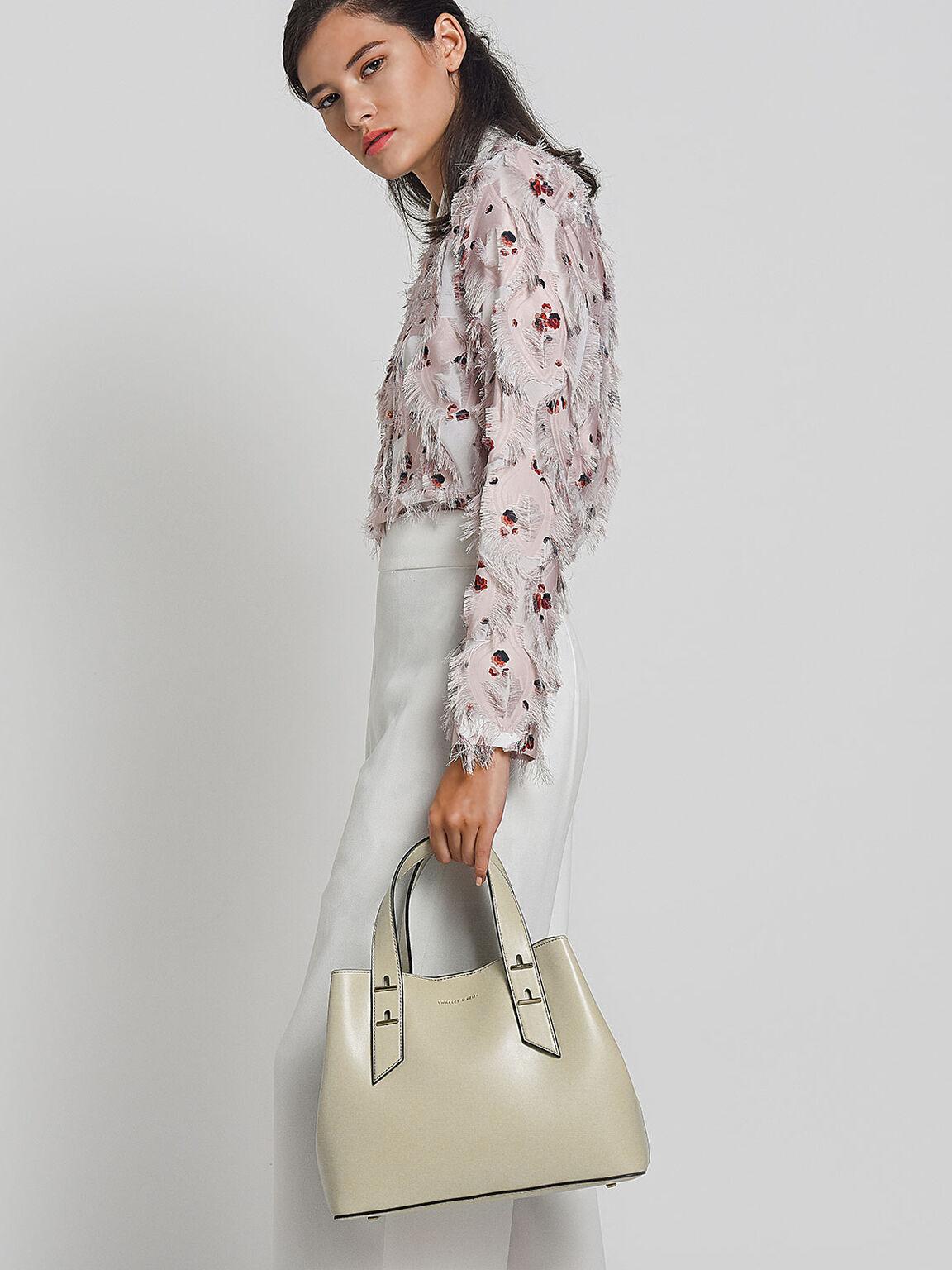 Embellished Slouchy Handbag, Ivory, hi-res