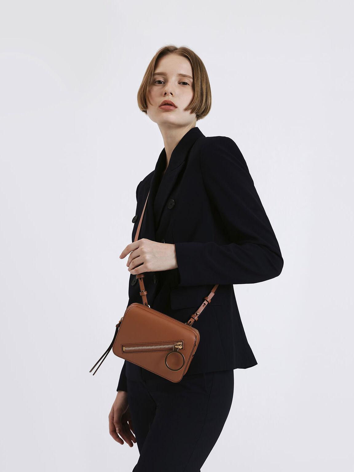 Ring Zip Pocket Two-Way Belt Bag, Tan, hi-res