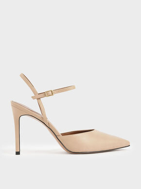 Pointed Toe Ankle Strap Pumps, Beige