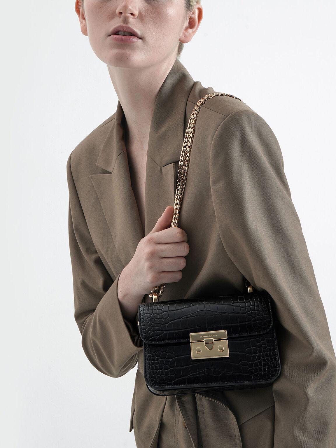 Croc-Effect Chain Strap Crossbody Bag, Black, hi-res
