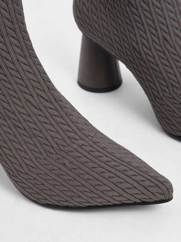 Knitted Sculptural Heel Sock Boots, Dark Grey, hi-res