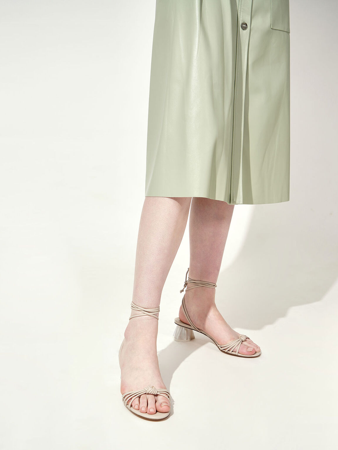 Geometric Heel Ankle Tie Sandals, Beige, hi-res