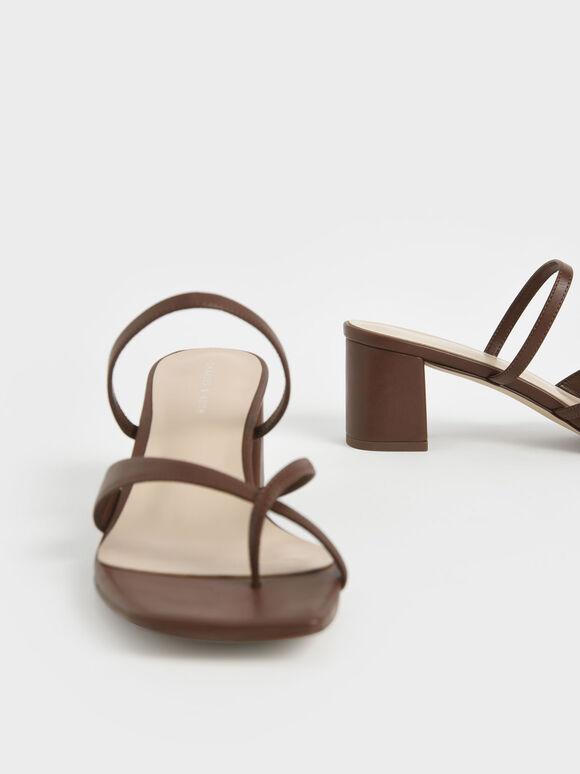 Block Heel Toe Loop Sandals, Brown, hi-res