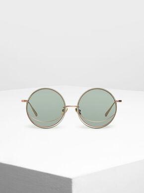 Circle Frame Sunglasses, Green