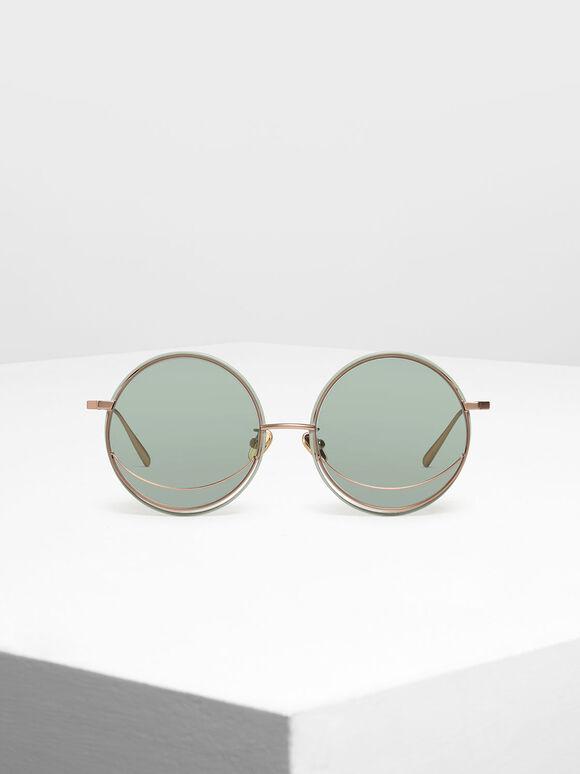 Circle Frame Sunglasses, Green, hi-res